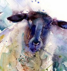 Sheep Paintings, Animal Paintings, Animal Drawings, Watercolor Animals, Watercolor Print, Watercolor Paintings, Watercolours, Ewe Sheep, Sheep Art