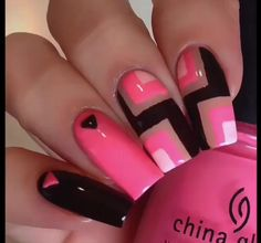 Square nails - Pink