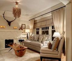 Iconic and whimsical items are a great starting point for pulling color and style elements into the larger design scheme, and that process is more fun when those things have… Living Room Sofa, Living Spaces, Living Rooms, English Cottage Interiors, Apartment Makeover, Lodge Style, Curtains With Blinds, Valances, One Bedroom