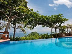Tulemar Bungalow hotel in Costa Rica.  Pool view looking toward the ocean.  This is a great place to stay.