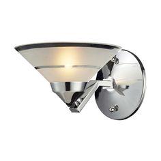 Refraction Polished Chrome Mars One Light Sconce Elk Lighting 1 Light Armed Glass Wall Sco