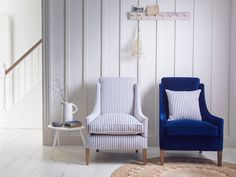 love this nautical blue and white stripe linen covered chair by ian mankin. Click through to get easy step by step DIY tutorial on how to upholster or upcyle your own chair and to find out more about this ethically produced fabric made in Britain as well Funky Chairs, Blue Chairs, Desk Chairs, Room Chairs, Striped Chair, Diy Chair, Decorating Small Spaces, Leather Sofa, Soft Furnishings