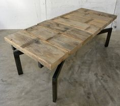 Gooseneck X coffee table, bench, rustic modern Rough top with metal base. Contrast of styles