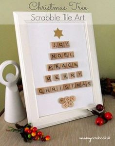 Scrabble tile art – Recycled Crafts I think we all love Scrabble tiles and there seems to be virtually endless ways to use them beyond playing the game. If this fun Christmas tree art that spells out holiday words looks like somethin… Scrabble Letter Crafts, Scrabble Tile Crafts, Scrabble Frame, Scrabble Pieces Crafts, Christmas Tree Art, Christmas Frames, Christmas Ornaments, Scrabble Christmas Decorations, Scrabble Ornaments