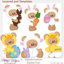 Marshmallow Bear Easter Fun Layered Element Templates #CUdigitals cudigitals.comcu commercialdigitalscrapscrapbookgraphics