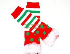 Christmas Leg Warmers with White Ruffles  only $3.99  www.gabskia.com