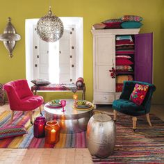Boho Chic Interior Design - Bohemian Bedroom Design - Josh and Derek Boho Chic Interior, Bohemian Bedroom Design, Interior Design, Colourful Living Room, Boho Living Room, Living Room Decor, Home Decor Inspiration, Colorful Interiors, Sweet Home