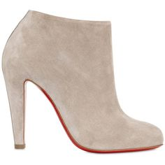 Christian Louboutin  100mm Bobsleigh Suede Ankle Boots ($925) ❤ liked on Polyvore featuring shoes, boots, ankle booties, ankle boots, booties, heels, beige, high heel bootie, high heel booties and high heel boots