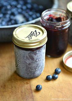 Easy Blueberry Freezer Jam Recipe She Wears Many Hats, No Cook Tangy Blueberry Freezer Jam, Jam Recipe Video Martha Stewart. Freezer Jam Recipes, Jelly Recipes, Canning Recipes, Fruit Recipes, Freezer Meals, Recipies, Drink Recipes, Easy Meals, Blueberry Freezer Jam