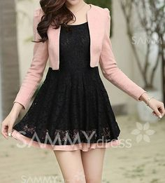 Work Above Knee Dress, Color Block Long Sleeves Fashion In, Kawaii Fashion, Asian Fashion, Fashion Dresses, Classy Outfits, Pretty Outfits, Pretty Dresses, Beautiful Dresses, Dress Outfits