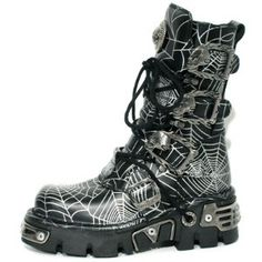 NEW ROCK SPIDER GOD CYBER GOTH BOOTS BLACK LEATHER w SILVER WEBS