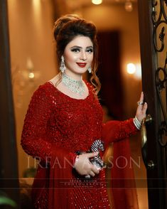 Image may contain: 1 person, standing Pakistani Bridal Makeup, Bridal Mehndi Dresses, Pakistani Wedding Outfits, Bridal Dress Design, Bridal Outfits, Pakistani Dresses, Indian Bridal, Indian Dresses, Nikkah Dress