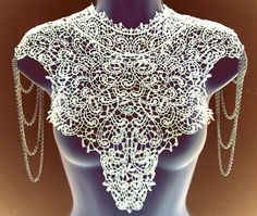 Steampunk lace WHITE bib detachable collar necklace with chain epaulets epaulettes Body Tattoo featured on VOGUE.IT Limited Edition on Etsy, $111.16 CAD