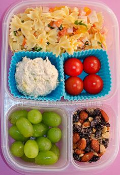 day 361 mini bowtie butterfly pasta w/ yellow pepper spinach carrots & ham; cherry tomatoes scoop of tuna; grapes; & trail mix ▶