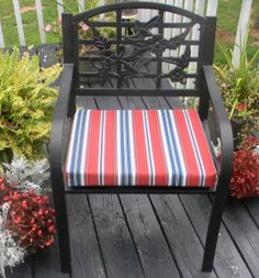 Indoor / Outdoor Foam Universal Chair Seat Cushion with Ties - Red & Blue Stripe by PillowsCushionsOhMy, $22.99
