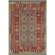 Shop for Sangat Kilim Elmas Green/Rust Rug (6'5 x 8'10). Get free shipping at Overstock.com - Your Online Home Decor Outlet Store! Get 5% in rewards with Club O! - 22297464