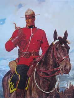Canadian Mountie RCMP on Horse with Chipmunk, Arnold Friberg