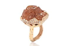 """Trend tracking: unusually-cut gemstones. Dissel also created this """"Rose Mountain"""" ring, featuring a 45-carat natural hessonite set with diamonds in 18-karat rose gold. It retails for $5,400."""