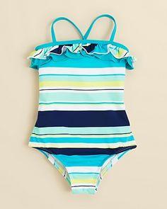 Splendid Girls' Striped One Piece Swimsuit - Sizes 4-6X   Bloomingdale's
