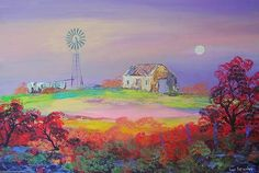 "Buy AN ORIGINAL LOUIS PRETORIUS:""Windmill in the Moonlight"" (900mm x 600mm x 30mm ) for R7,600.00"