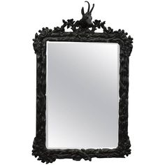 Antique Black Forest Carved Frame with Chamois Head | From a unique collection of antique and modern wall mirrors at https://www.1stdibs.com/furniture/mirrors/wall-mirrors/