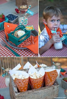 Farm Birthday Party Planning Ideas Supplies Idea Cowboy Decorations popcorn paper cones from scrapbook paper Farm Themed Party, Barnyard Party, Farm Party, Fall Birthday, 2nd Birthday Parties, Birthday Ideas, Cowboy Birthday, Petting Zoo Birthday Party, Farm Animal Party