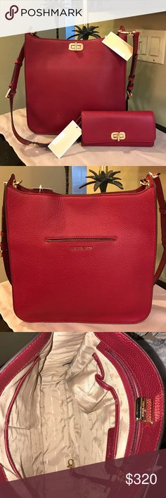 NWT Michael Kors Bag and Wallet Set Stunning brand new MK Sullivan, Large soft leather NS Messenger bag and matching wallet in cherry (dark red). Dust bag included Michael Kors Bags Shoulder Bags