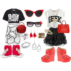 """""""Red, Black and White"""" by telley-m-jay on Polyvore"""
