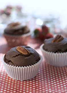 """Chocolate Muffins (or add frosting & call them cupcakes) - these are delicious!  My """"tweaks"""": Added a little vanilla, used real eggs, only 1/4 tsp. nutmeg, canola oil, replaced 1 Cup Sorghum flour with half sorghum & half brown rice flours.  REALLY good!"""