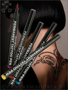 "'Tattoo Pens' for designs that will stay on until you deliberately remove them.  I think this would be a good way to ""try out"" a tattoo and see if it is something you would want to live with forever..."