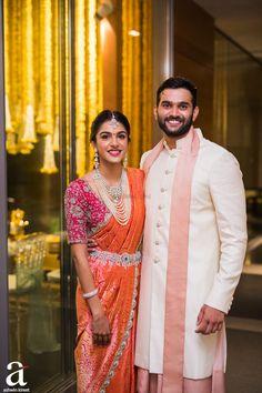 Shravya And Sharan's Engagement - Ashwin Kireet Photography Pictures Indian Wedding Wear, Indian Bridal Outfits, Indian Bridal Fashion, Indian Wedding Sarees, Indian Wear, Saree Wedding, Bridal Sarees South Indian, South Indian Bride, Indian Sarees