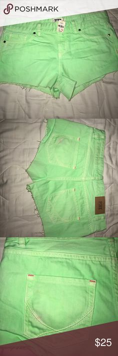 Green Cut off shorts by PINK Victoria Secret SZ 6 The cutest cut off shorts that are a Rare find. There is only a tiny blemish, looks like my lipstick on the back pocket. Easily can wash out in the washing machine. PINK Victoria's Secret Shorts Jean Shorts