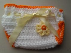 Baby girl crochet summer dress set orange & by ShellyBellsCrochet