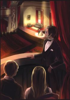 Roderich, Gilbert, and Erzsébet at the opera; now whose idea do you think that was? ;) - Art by semillon