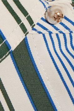 Tory Burch - Villa Striped Satin-twill Dress - Blue - US
