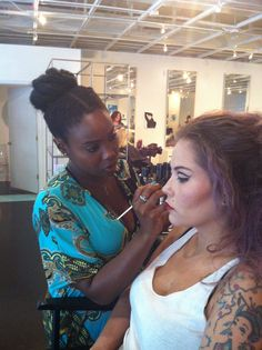Our resident MUA, Eily giving stylist Sophie a vintage retro look. Youngblood cosmetics used.