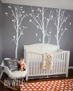 Large WHITE Nature Tree Wall Decals Wall Sticker  by ONWALLstudio