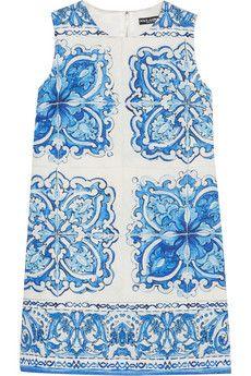 Dolce & Gabbana Printed cotton and silk-blend brocade mini dress | NET-A-PORTER