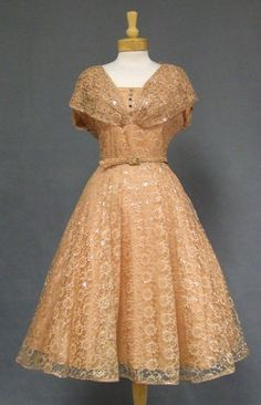 Apricot & Silver Lace 1950's Dress-darling bodice