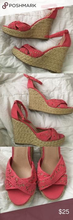 Pink wedges By candies. Ankle buckle detail. Size 8 1/2 very good used condition Candie's Shoes Wedges