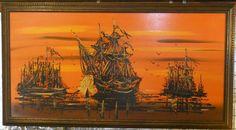 Vintage Vanguard Studios Painting Drip Ship | Vintage Greg Copeland Mirror Art (Signed by Guest Designer Don Alquins ...