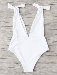 2109230e6c284 V Plunge Knot Swimsuit -SheIn(Sheinside)