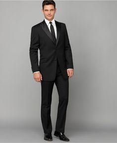 Give your formal wear a more modern look with these slim tuxedo pants and jacket from Tommy Hilfiger.