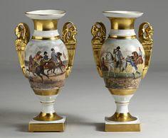 Pair of Old Paris Vases w/Napoleon Battle Scenes.