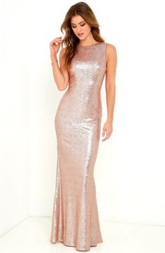 Amazing rose gold sequin gown for bridesmaids or for a formal dress. Matte Gold Sequin Dress from Lulus. Gold Sequin Gown, Metallic Dress, Sequin Maxi, Gold Sequins, Lovely Dresses, Trendy Dresses, Formal Dresses, Sparkly Dresses, Gala Dresses
