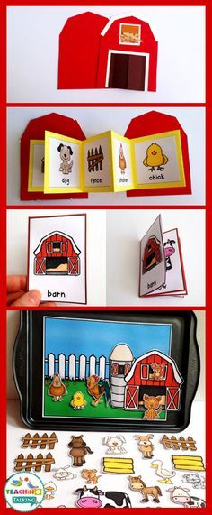 Farm Vocabulary Activities Farm Vocabulary Activities – Use this resource with your preschool, Kindergarten, or grade classroom or home school students. It's great for your vocabulary or speech therapy lessons. You get a craftivity, foldable, mini boo Farm Activities, Animal Activities, Vocabulary Activities, Speech Therapy Activities, Language Activities, Toddler Activities, Barn Crafts, Farm Animal Crafts, Farm Unit