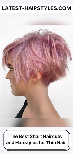 If you've got thinner hair and you're considering a chop, browse our photo collection of short hairstyles for thin hair right now! (Photo credit Instagram @headrushdesigns) Latest Short Haircuts, Asymmetrical Bob Haircuts, Short Pixie Haircuts, Messy Short Hair, Medium Short Hair, Short Hair Cuts, Haircut Styles For Girls, Short Haircut Styles, Hair Styles