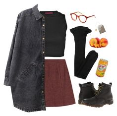 """peaches"" by paper-freckles ❤ liked on Polyvore featuring Yves Saint Laurent, A.P.C., Boohoo, Chicnova Fashion, Dr. Martens and Spitfire"