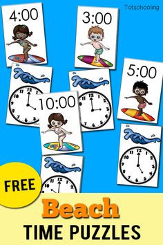 FREE Beach themed Time telling puzzles for kids beginning to read a clock and tell time. Match the surfing kids to the wave by matching digital and clock time by the hour. Perfect summer activity for preschool and kindergarten kids!