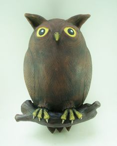 Sculpted owl by Keith Lehman of the Poplar Studio Sculpting, Owl, Pottery, Bird, Studio, Animals, Design, Whittling, Hall Pottery